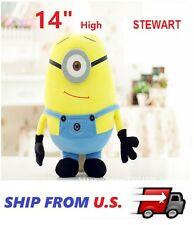 "STEWART 3D Eye Despicable Me 14"" Plush Minions Doll Soft Toy GIFT SHIP FROM U.S."