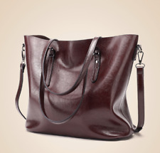 Korean Leather Shoulder Tote Bag Sling Bag (Brown)