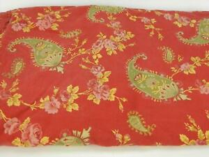 Pottery Barn Florence Red Green Gold Floral Paisley Queen Duvet w Standard Shams
