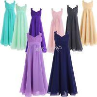 Lace Chiffon Flower Girl Party Formal Jr Bridesmaid Dress Long Maxi Skirt Sz4-14