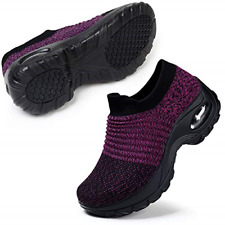 STQ Womens Walking Shoes Slip on Nursing Shoes Air Cushion Wide Fit Wedge Shoes