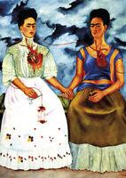 Frida Kahlo - Both Frida - A4 size 21x29.7cm QUALITY Canvas Art Print Unframed