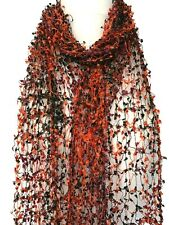 Orange Cobweb Scarf Ladies Black Purple Lace Lacy Style Wrap Shawl Fair Trade