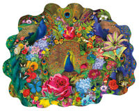 Sunsout - GARDEN PEACOCK - Shaped 1000 piece jigsaw puzzle.