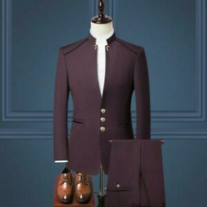 Men Chinese tunic suit Costume Stand Collar Three Buttons Blazers Dress Business