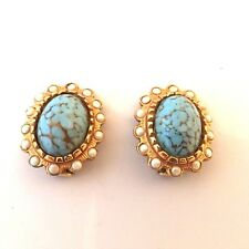ANCIENNES BOUCLES D'OREILLE METAL DORE & TURQUOISE VINTAGE FRENCH EARRINGS