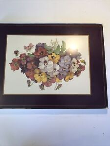 PIMPERNEL CORK PLACEMATS Pansies Qty 4 Mats MADE ENGLAND Great Condition In Box