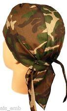 Skull Cap Woodland Camo Camouflage Motorcycle Biker Doo Rag Cancer Patient Wrap