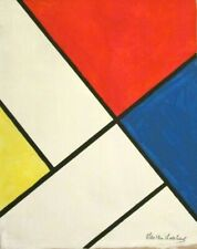 Vintage Abstract Canvas Signed Theo van Doesburg,  Modern  Art  20th Century