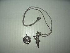 2 Vintage Silvertone Scotland Celtic Clan Crest & Kilt Dancer Pendant Necklace