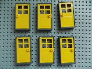 LEGO  Dark Blue Gray1x4x6  Frame with Yellow  Door City Town Modular  lot of 6