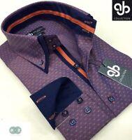 New Mens Formal Smart Burgundy Red Italian Design Slim Fit Double Collar Shirt
