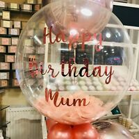 Personalised Feather Filled Clear Balloon for Birthday, Baby Shower, Wedding