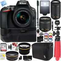 Nikon D5600 DSLR Camera + AF-P 18-55mm VR & 70-300mm ED Lens Battery Grip Kit