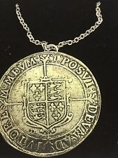 "Elizabeth I Crown Coin WC48 Pewter On a 16"" Silver Plated Chain Necklace"