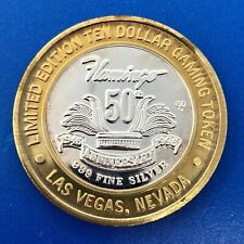 1996 Flamingo 50th Anniversary $10 .999 Silver Limited Edition Gaming Token