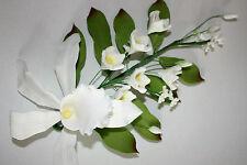 SPRAY ORCHIDEA, Extra Large, Bianco, fiori di zucchero, cake topper, gomma, pasta di zucchero.