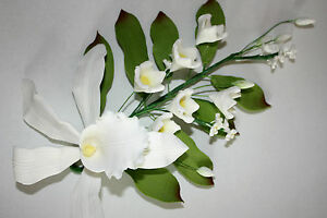 Orchid Spray, Extra Large, White, Sugar Flowers, Cake Topper, Sugar Paste,