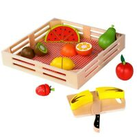 Wooden Cutting Fruit Set Pretend Play Toy for Toddlers Baby with Knife Basket