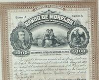 MEXICO B/15a BANCO DE MORELOS diez acciones de $1,000 pesos de 1903