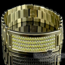 Men 14k Yellow Gold Finish Stainless Steel Canary Simulated Lab Diamond Bracelet