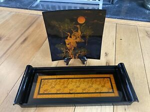 Decorative Oriental Black And Gold Tray And Plate Lovely Condition.