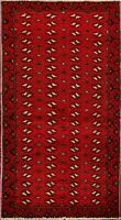 Tribal RED Geometric Balouch Afghan Oriental Area Rug Hand-Knotted 3'x6' Carpet