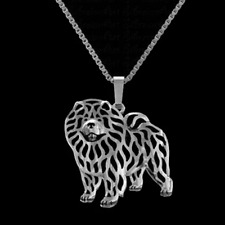 "CHOW CHOW DOG PENDANT WITH 18"" SILVER NECKLACE FREE GIFT BAG"
