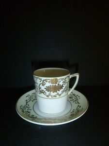 Vintage Set 6 Demitasse Cups and Saucers Hand Painted Beaded Heavy Gold