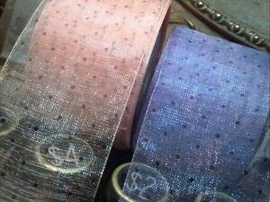 """Sheer Organza 1.5"""" Ribbon Polka Dots 1yd Made in Japan"""