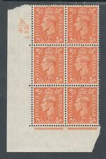 Great Britain Sc 238 Mlh. 1938 2p Kgvi, K/42 Cylinder Block of 6, Vf