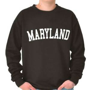 Maryland Athletic Student Gym Vacation MD  Adult Long Sleeve Crew Sweatshirt