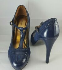 Merona Women's Royal Blue Mary-Jane Patent Leather Stilettos Shoes Size 5 1/2