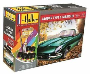 Maquette Jaguar cabriolet E 328ots verte avec colle peintures Heller France 1:24