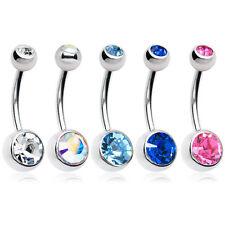 """Double Gem Belly Rings Genuine Gems 14 gauge 7/16"""" Surgical Steel 5Pack"""