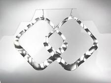 CHIC Basketball Wives Style LARGE Lightweight Silver Square Statement Earrings