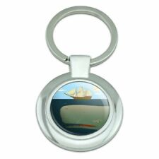 Sperm Whale Under Ship Keychain Classy Round Chrome Plated Metal