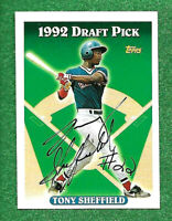 1993  TONY SHEFFIELD DRAFT PICK, ROOKIE TOPPS CARD # 687 AUTOGRAPHED AS SHOWN