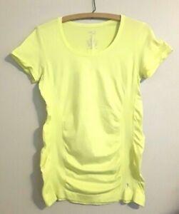 Danskin Now Women's Top Semi-Fitted Lemon Yellow Activewear Size M (8-10)