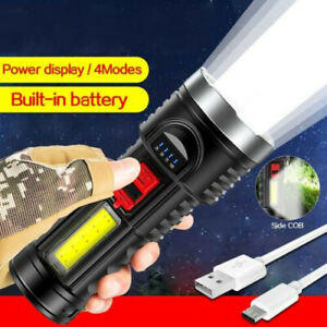 Super Bright 10000000LM Torch Powerful LED Flashlight USB Rechargeable Light TOP