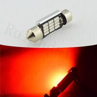 2X Red Festoon LED Canbus 4014 12SMD-42mm Interior Dome Map  Light AC 12V 24V