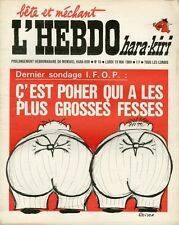 """L'HEBDO HARA-KIRI N°16 du 19/5/1969"" REISER : POHER A LES PLUS GROSSES FESSES"