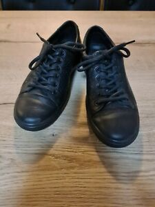 Womens Black Ecco Lace Up Flats Size 40