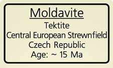 Impactite label Moldavite [ Tektite * Impact Rock Label ]