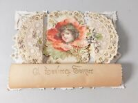 Vintage Cut Out Delicate Lace paper Valentine's Day card. A Loving Token scroll