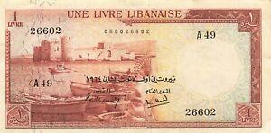 Lebanon 1 Livre 1964 P-55b XF
