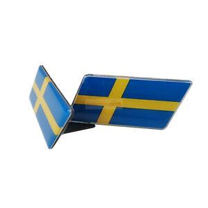 2x Sweden Flag Car Resin Front Grille Grill Emblem Badge Sticker For Volvo Saab