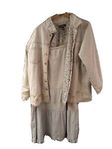 Denim & Co Jean Skirt & JACKET Set Women Plus1X Embroidered OUTFIT LIGHT BLUE