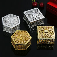 Plastic Hollow Gold Foil Candy Box Chocolate Gift Treat Boxes Wedding Favor Box.