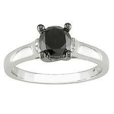 PVP 1/2Ct Negro Opaco Anillo Solitario Diamante De Compromiso plata de ley 925